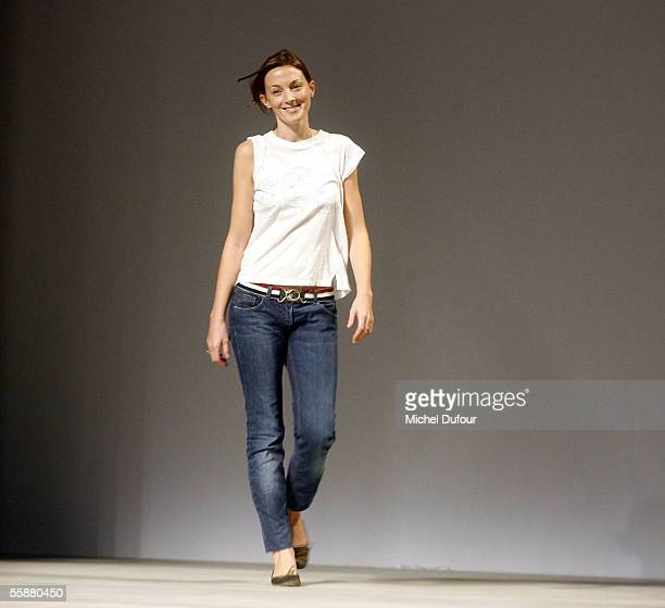 Phoebe Philo walks the catwalk during the Chloe show as part of Paris Fashion Week Spring/Summer 2006 on October 8 2005 in Paris France