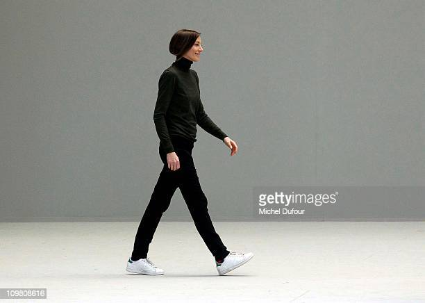 Phoebe Philo walks the runway during the Celine Ready to Wear Autumn/Winter 2011/2012 show during Paris Fashion Week on March 6 2011 in Paris France
