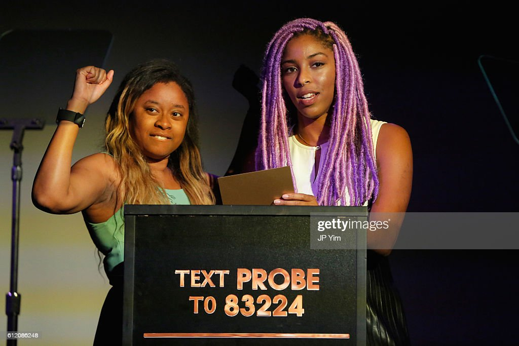 Phoebe Robinson and Jessica Williams attend The Golden Probe Awards 2016 at Le Poisson Rouge on October 2, 2016 in New York City.