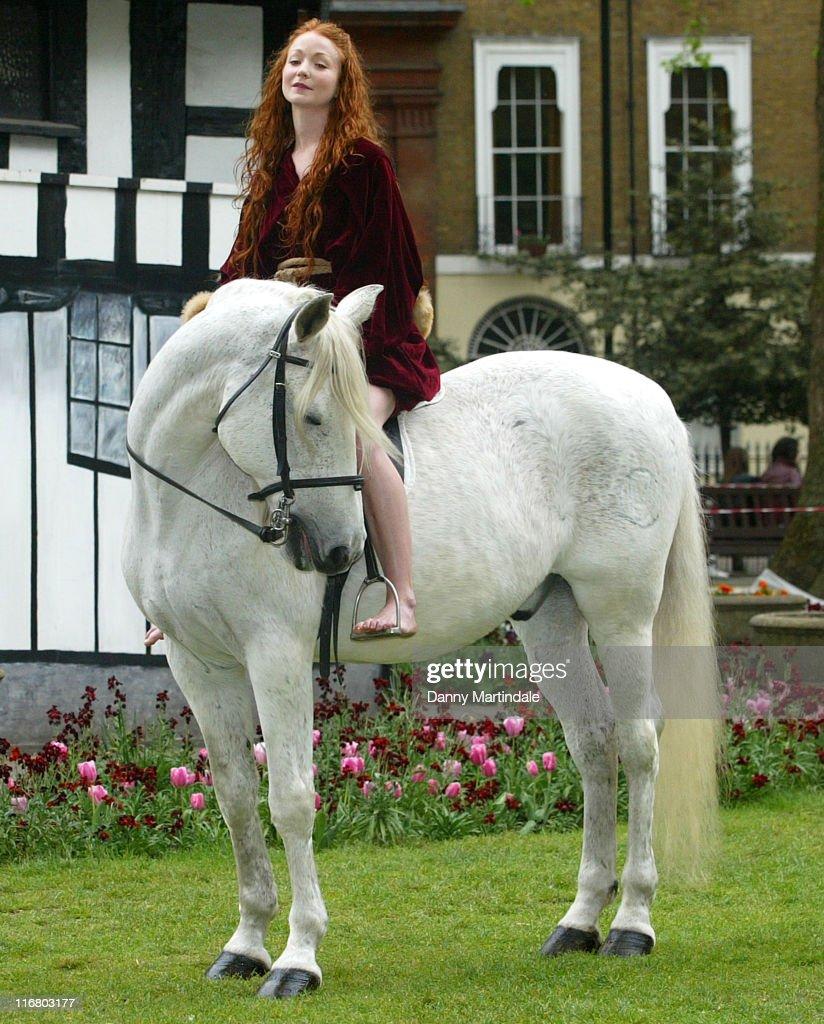 Phoebe Thomas as Lady Godiva during Lady Godiva Photocall at Soho Square in London United Kingdom