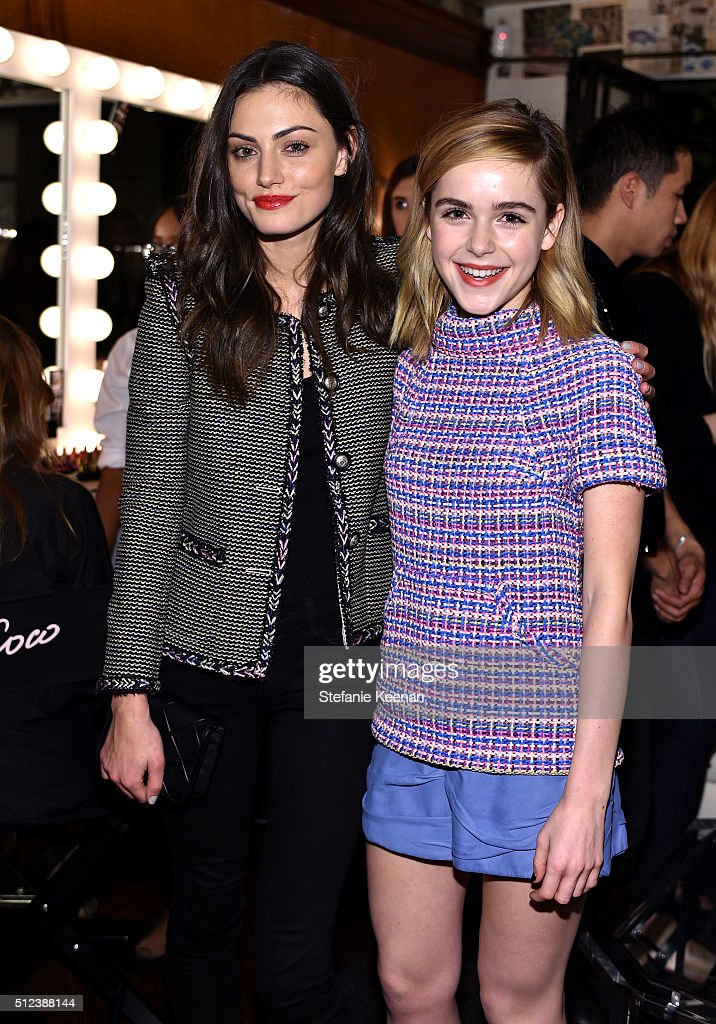 Phoebe Tonkin and Kiernan Shipka attend the I Love Coco Backstage Beauty Lounge at Chateau Marmont's Bar Marmont on February 25 2016 in Hollywood...