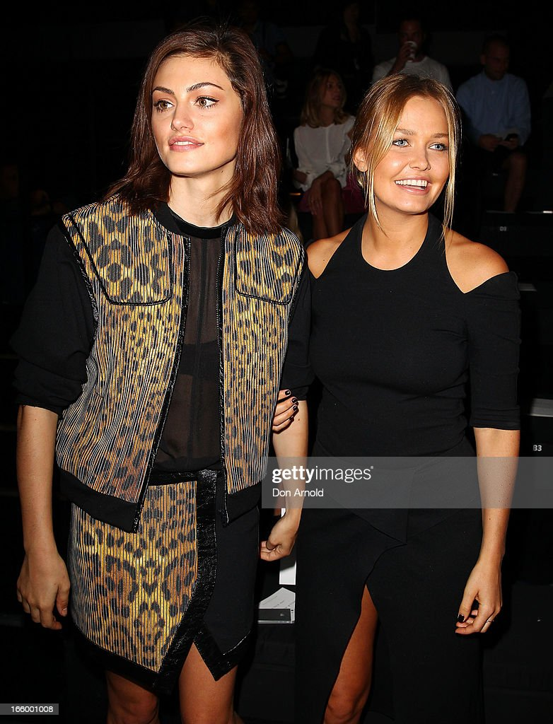 <a gi-track='captionPersonalityLinkClicked' href=/galleries/search?phrase=Phoebe+Tonkin&family=editorial&specificpeople=5338240 ng-click='$event.stopPropagation()'>Phoebe Tonkin</a> and <a gi-track='captionPersonalityLinkClicked' href=/galleries/search?phrase=Lara+Bingle&family=editorial&specificpeople=553554 ng-click='$event.stopPropagation()'>Lara Bingle</a> sit front row at the Camilla and Marc show during Mercedes-Benz Fashion Week Australia Spring/Summer 2013/14 at Carriageworks on April 8, 2013 in Sydney, Australia.