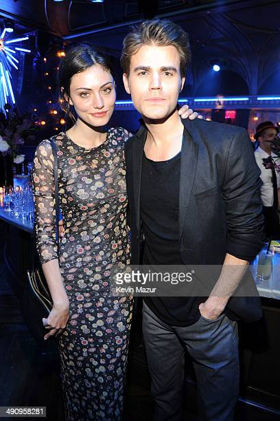 Phoebe Tonkin and Paul Wesley attend The CW Network's 2014 Upfront party at Paramount Hotel on May 15 2014 in New York City