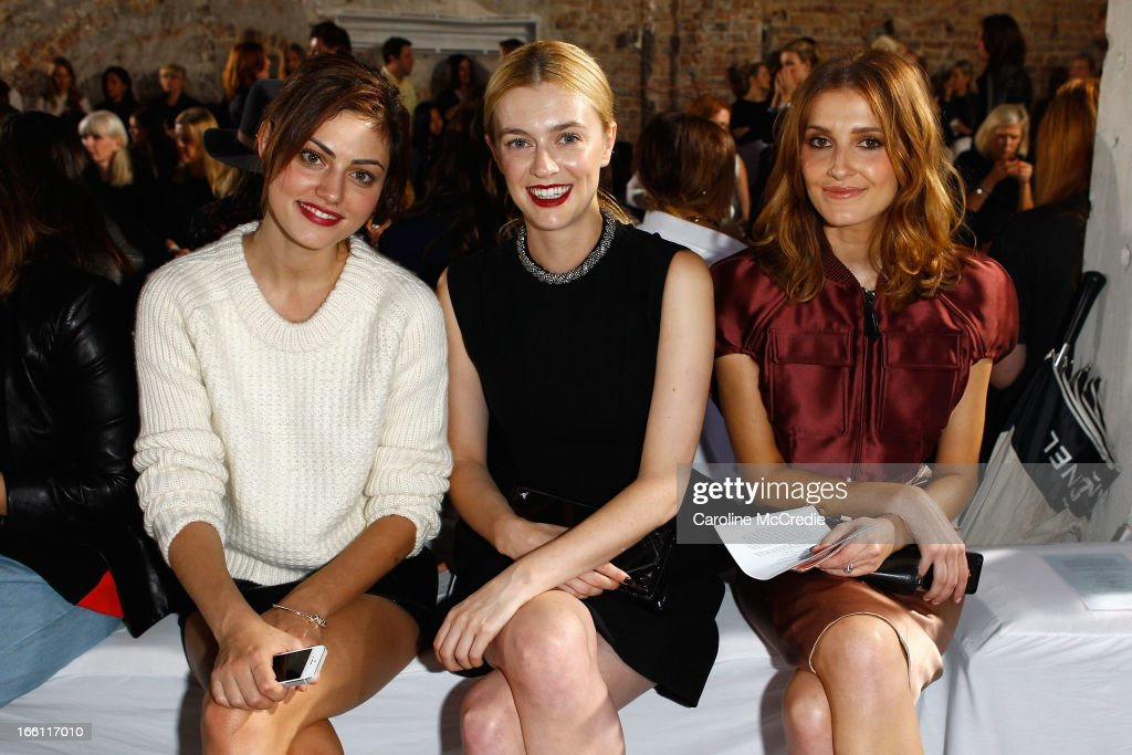 Phoebe Tonkin, Gracie Otto and Kate Waterhouse attend the Ellery show during Mercedes-Benz Fashion Week Australia Spring/Summer 2013/14 at an offsite venue on April 9, 2013 in Sydney, Australia.