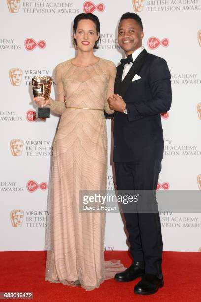Phoebe WallerBridge and Cuba Gooding Jr pose with the award for Female Performance in a Comedy Programme in the Winner's room at the Virgin TV BAFTA...