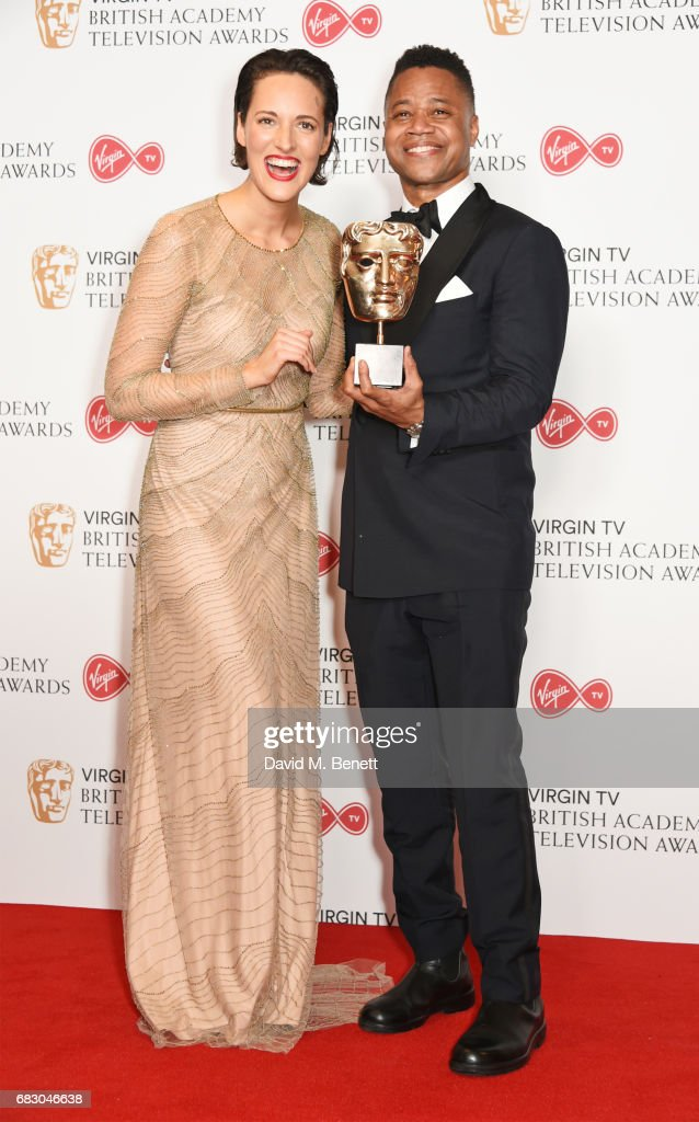 Phoebe Waller-Bridge, winner of the Female Performance in a Comedy Programme for 'Fleabag', and Cuba Gooding Jr pose in the Winner's room at the Virgin TV BAFTA Television Awards at The Royal Festival Hall on May 14, 2017 in London, England.