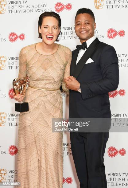 Phoebe WallerBridge winner of the Female Performance in a Comedy Programme for 'Fleabag' and Cuba Gooding Jr pose in the Winner's room at the Virgin...