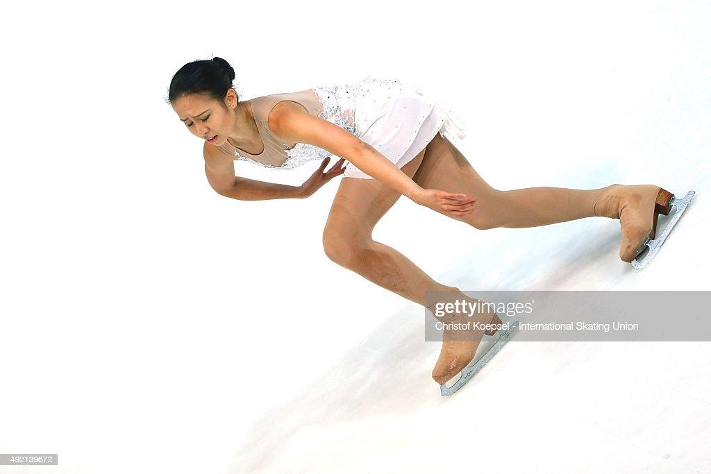 Phoebe Wang of Singapore skates during the junior ladies free skating of the ISU Junior Grand Prix at Dom Sportova on October 10 2015 in Zagreb...