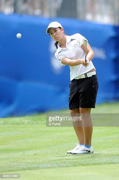 Phoebe Yao of Chinese Taipei hits a chip shot on the ninth hole during round one of the International Crown on July 24 2014 in Owings Mills Maryland