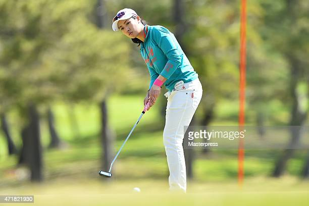 Phoebe Yao of Taipei chips onto the 1st green during the first round of the CyberAgent Ladies Golf Tournament at the Tsurumai Country Club West...