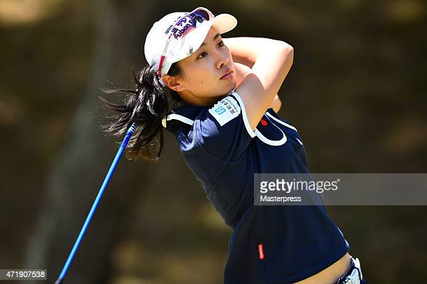Phoebe Yao of Taipei hits her tee shot on the 9th hole during the second round of the CyberAgent Ladies Golf Tournament at the Tsurumai Country Club...