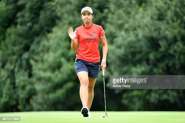 Phoebe Yao of Taiwan celebrates after making her birdie putt on the 6th green during the Final round of the Munsingwear Ladies Tokai Classic 2016 at...