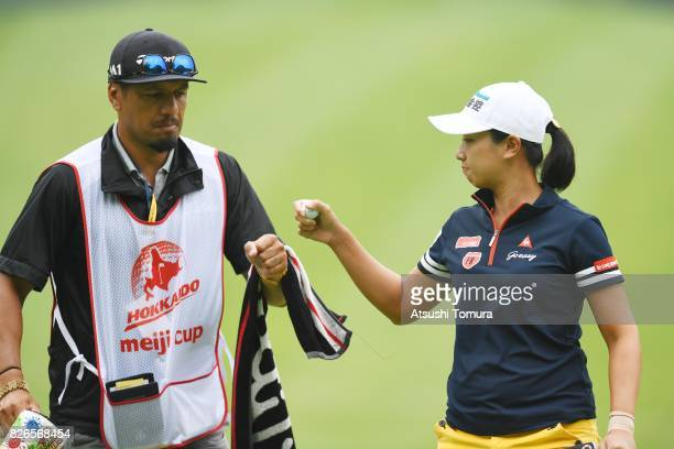 Phoebe Yao of Taiwan celebrates after making her birdie putt on the 3rd hole during the second round of the meiji Cup 2017 at the Sapporo Kokusai...