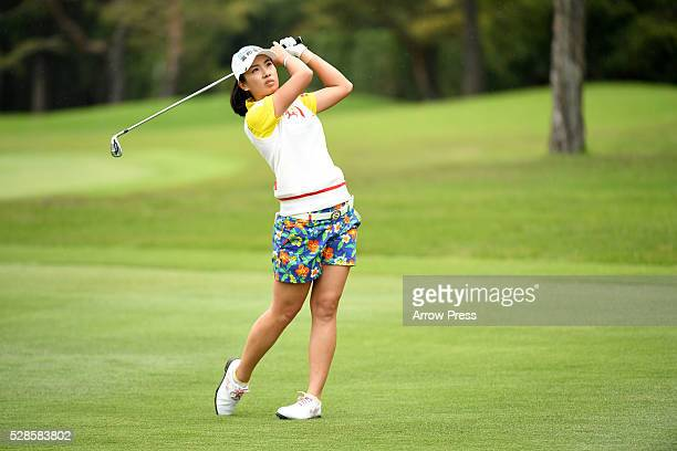 Phoebe Yao of Taiwan hits her second on the 4th hole during the second round of the World Ladies Championship Salonpas Cup at the Ibaraki Golf Club...