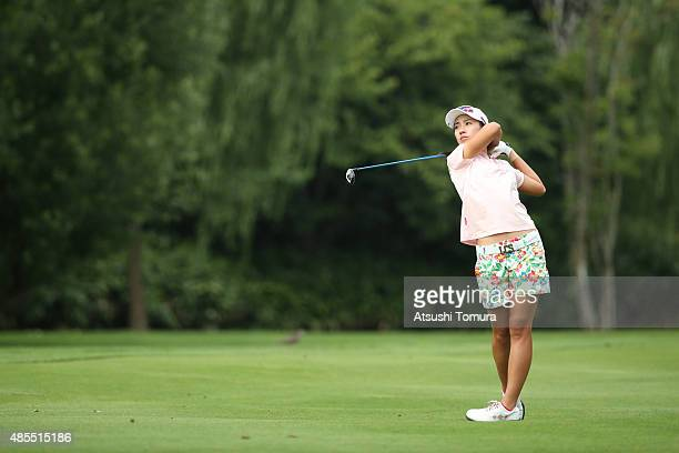 Phoebe Yao of Taiwan hits her second shot on the 16th hole during the first round of the Nitori Ladies 2015 at the Otaru Country Club on August 28...