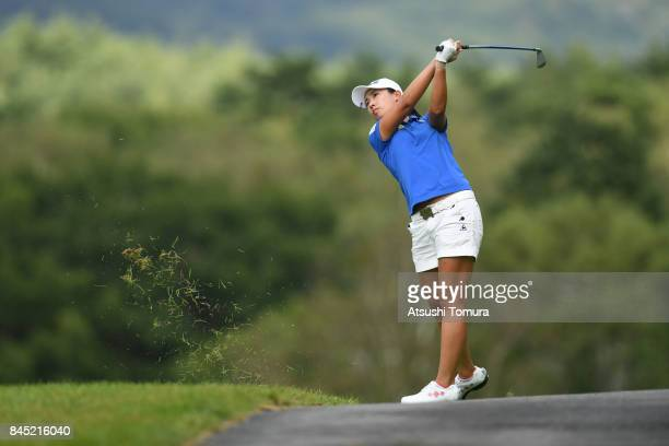 Phoebe Yao of Taiwan hits her second shot on the 5th hole during the final round of the 50th LPGA Championship Konica Minolta Cup 2017 at the Appi...