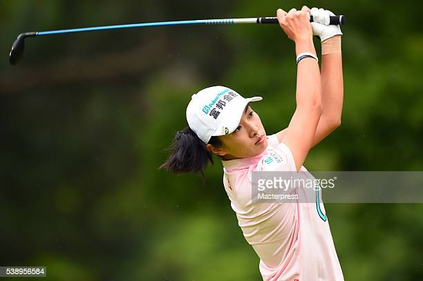 Phoebe Yao of Taiwan hits her tee shot on the 11th hole during the first round of the Suntory Ladies Open at the Rokko Kokusai Golf Club on June 9...
