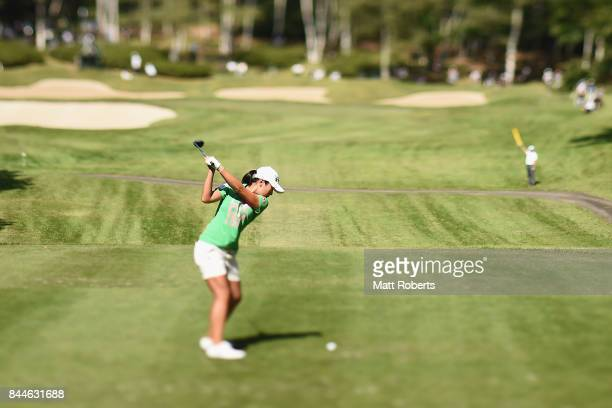 Phoebe Yao of Taiwan hits her tee shot on the 14th hole during the third round of the 50th LPGA Championship Konica Minolta Cup 2017 at the Appi...