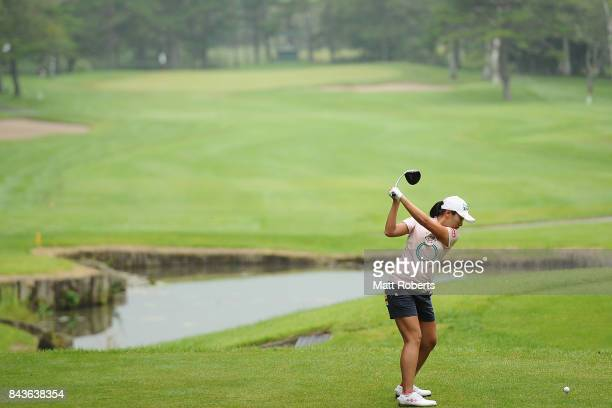 Phoebe Yao of Taiwan hits her tee shot on the 15th hole during the first round of the 50th LPGA Championship Konica Minolta Cup 2017 at the Appi...