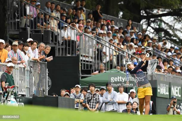 Phoebe Yao of Taiwan hits her tee shot on the 1st hole during the third round of Japan Women's Open 2017 at the Abiko Golf Club on September 30 2017...