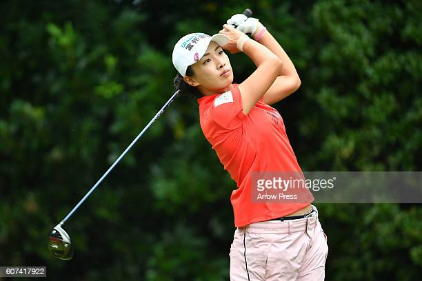 Phoebe Yao of Taiwan hits her tee shot on the 2nd hole during the Final round of the Munsingwear Ladies Tokai Classic 2016 at the Shin Minami Aichi...