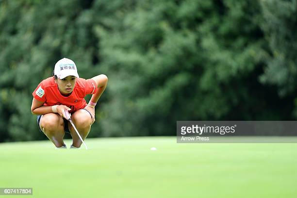 Phoebe Yao of Taiwan lines up her birdie putt on the 6th green during the Final round of the Munsingwear Ladies Tokai Classic 2016 at the Shin Minami...