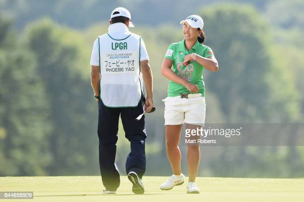 Phoebe Yao of Taiwan reacts after her putt on the 18th green during the third round of the 50th LPGA Championship Konica Minolta Cup 2017 at the Appi...