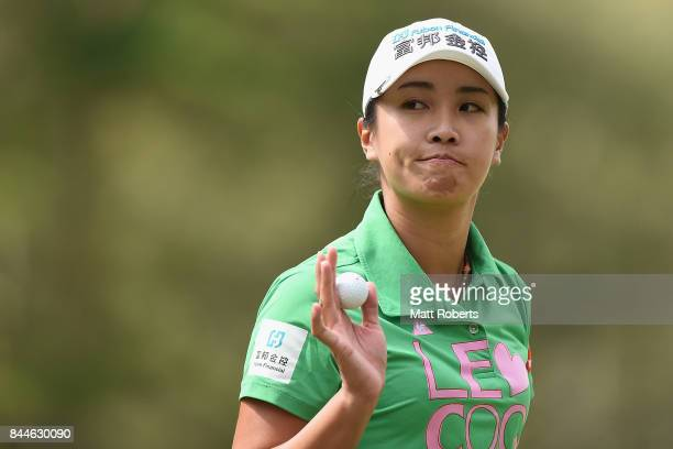 Phoebe Yao of Taiwan reacts after her putt on the 3rd green during the third round of the 50th LPGA Championship Konica Minolta Cup 2017 at the Appi...