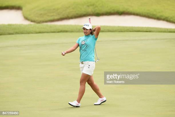 Phoebe Yao of Taiwan reacts after her putt on the first green during the first round of the Munsingwear Ladies Tokai Classic 2017 at the Shin Minami...