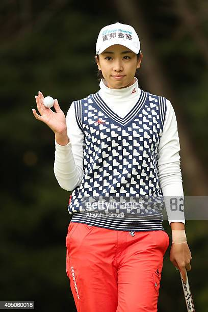 Phoebe Yao of Taiwan reacts after making her birdie putt on the 1st hole during the second round of the Higuchi Hisako Ponta Ladies at the...