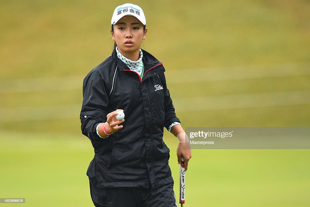 <a gi-track='captionPersonalityLinkClicked' href=/galleries/search?phrase=Phoebe+Yao&family=editorial&specificpeople=12771515 ng-click='$event.stopPropagation()'>Phoebe Yao</a> of Taiwan reacts during the first round of the Fujitsu Ladies 2015 at the Tokyu Seven Hundred Club on October 16, 2015 in Chiba, Japan.