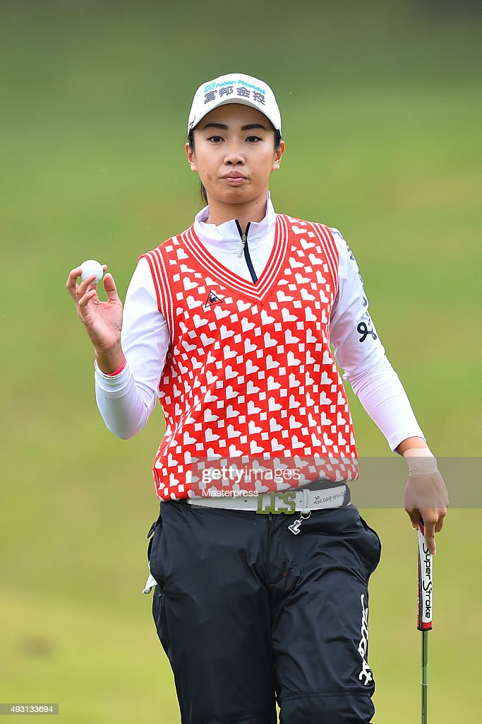 <a gi-track='captionPersonalityLinkClicked' href=/galleries/search?phrase=Phoebe+Yao&family=editorial&specificpeople=12771515 ng-click='$event.stopPropagation()'>Phoebe Yao</a> of Taiwan reacts during the second round of the Fujitsu Ladies 2015 at the Tokyu Seven Hundred Club on October 17, 2015 in Chiba, Japan.