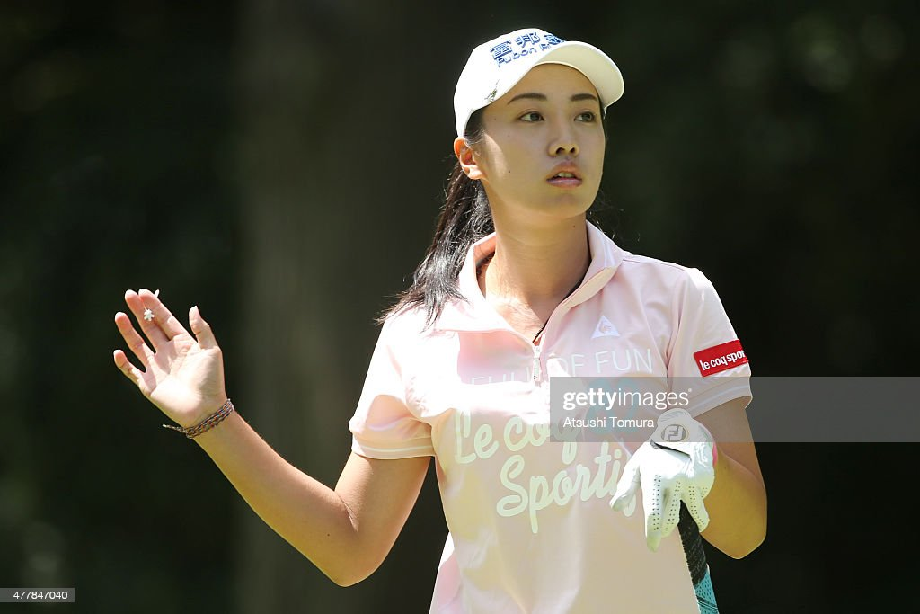 <a gi-track='captionPersonalityLinkClicked' href=/galleries/search?phrase=Phoebe+Yao&family=editorial&specificpeople=12771515 ng-click='$event.stopPropagation()'>Phoebe Yao</a> of Taiwan reacts during the second round of the Nichirei Ladies at the Sodegaura Country Club Shinsode Course on June 20, 2015 in Chiba, Japan.