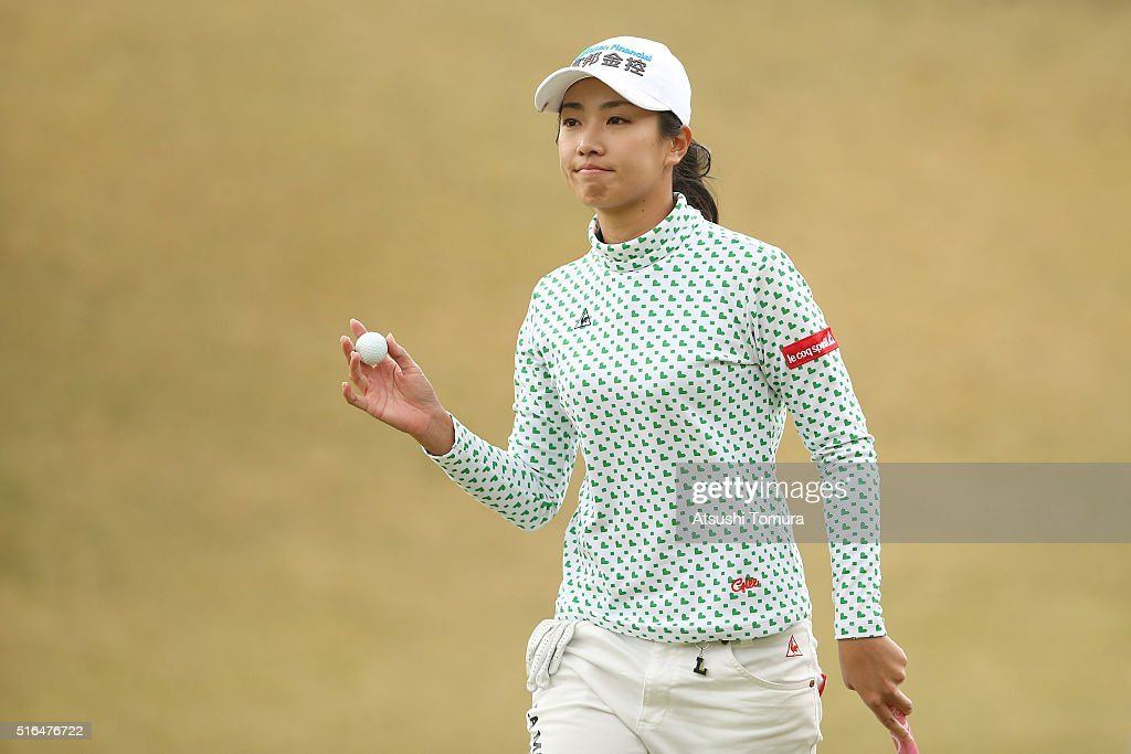 <a gi-track='captionPersonalityLinkClicked' href=/galleries/search?phrase=Phoebe+Yao&family=editorial&specificpeople=12771515 ng-click='$event.stopPropagation()'>Phoebe Yao</a> of Taiwan reacts during the second round of the T-Point Ladies Golf Tournament at the Wakagi Golf Club on March 19, 2016 in Takeo, Japan.