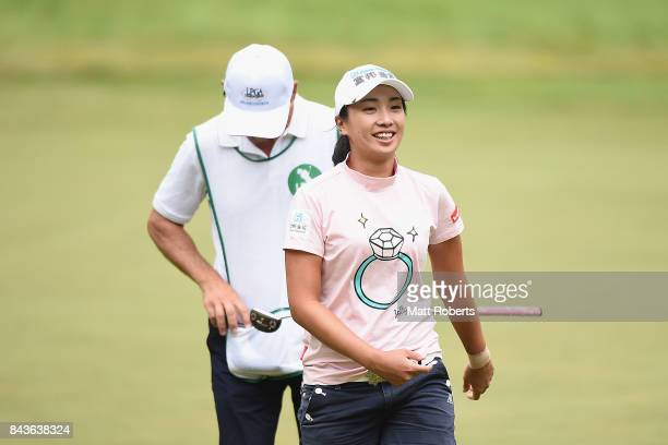 Phoebe Yao of Taiwan smiles after her putt on the 14th green during the first round of the 50th LPGA Championship Konica Minolta Cup 2017 at the Appi...