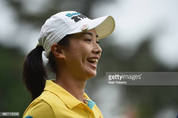Phoebe Yao of Taiwan smiles after her tee shot on the 10th hole during the first round of the HokennoMadoguchi Ladies at the Fukuoka Country Club...