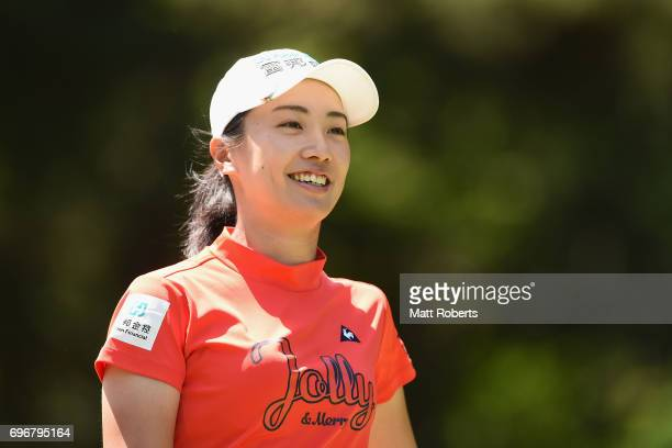 Phoebe Yao of Taiwan smiles after her tee shot on the 2nd hole during the second round of the Nichirei Ladies at the on June 17 2017 in Chiba Japan