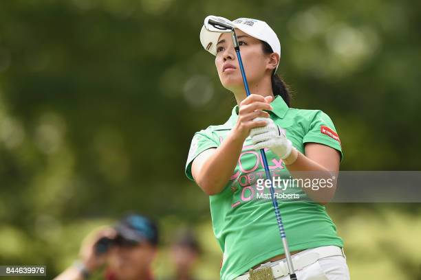 Phoebe Yao of Taiwan watches her tee shot on the 4th hole during the third round of the 50th LPGA Championship Konica Minolta Cup 2017 at the Appi...