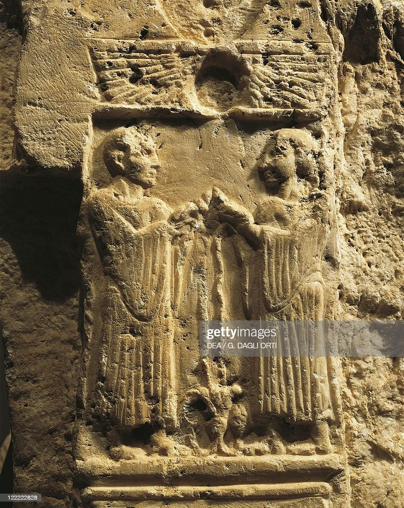 Phoenician civilization. Throne of the goddess Astarte. Detail: relief with scene of libation. From Byblos, Lebanon.