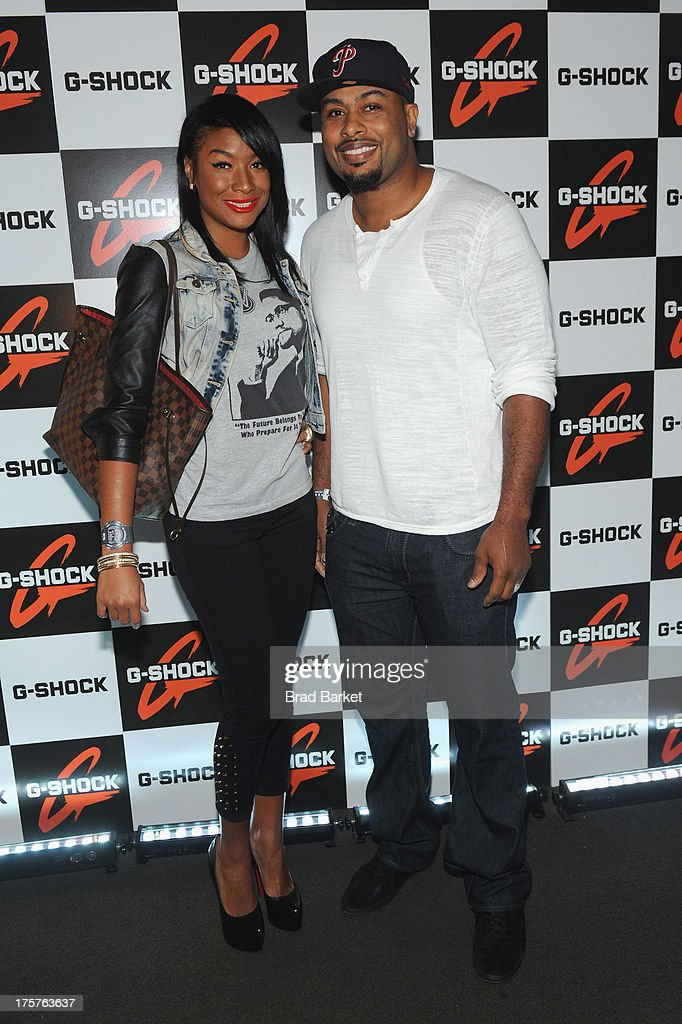 Phoenix (L) and Raheem Brock attend G-Shock Shock The World 2013 at Basketball City on August 7, 2013 in New York City.