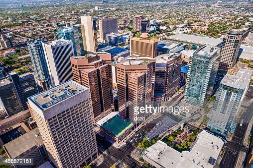 Le centre-ville de Phoenix, en Arizona, Ville skyline Vue aérienne de gratte-ciel