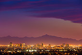 Phoenix Arizona skyline under a dramatic sunset