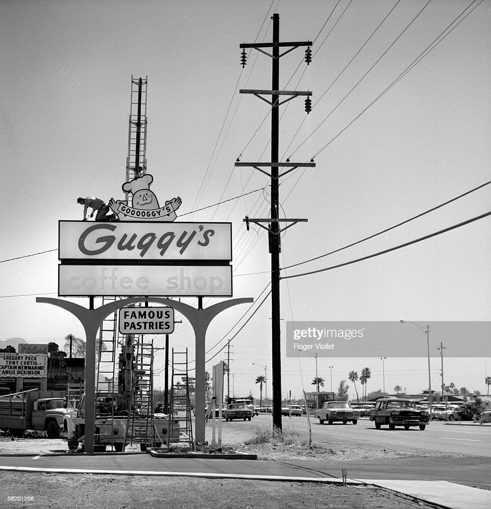 Phoenix (Arizona, United States). Billboard along a road. April 1964.