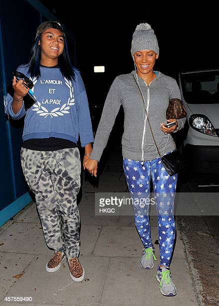 Phoenix Brown and her Mother Melanie Brown leave the X Factor rehearsal studios on October 20 2014 in London England