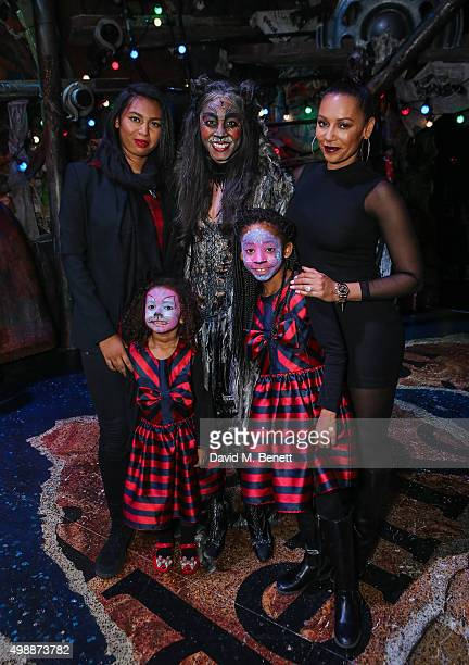 Phoenix Chi Gulzar Beverley Knight Mel B Angel Iris Murphy Brown and Madison Brown Belafonte pose with cast member of 'Cats' following a performance...