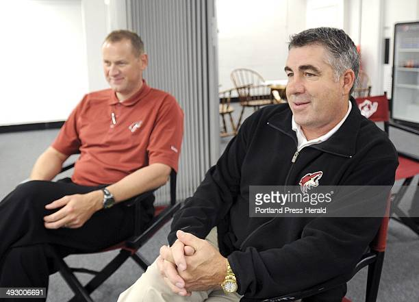 Phoenix Coyotes assistant general manager Brad Treliving and head coach Dave Tippett during interview at the Cumberland County Civic Center in...