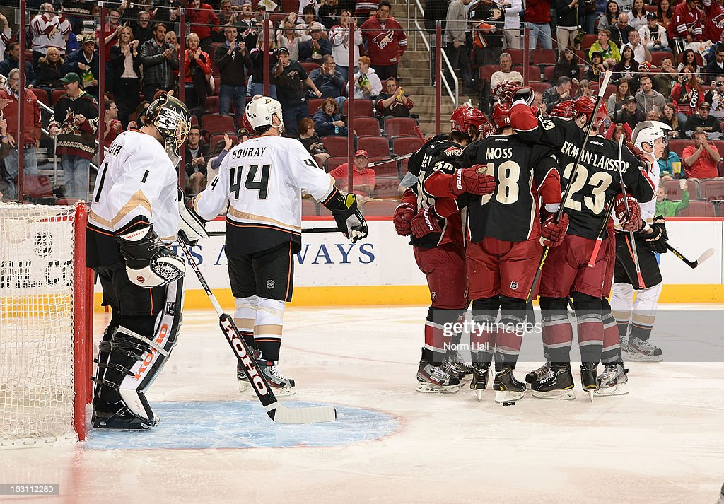 Phoenix Coyotes players celebrate in front of goalie Jonas Hiller #1 and Sheldon Souray #44 of the Anaheim Ducks after Antoine Vermette's second period goal at Jobing.com Arena on March 4, 2013 in Glendale, Arizona.