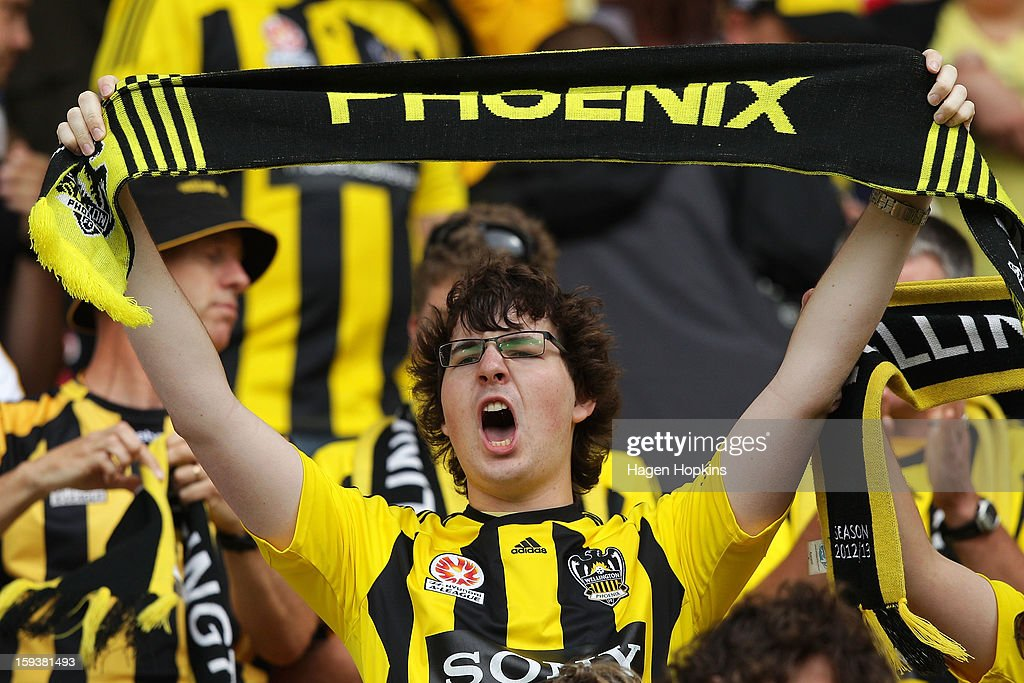A Phoenix fan shows his support during the round 16 A-League match between the Wellington Phoenix and the Western Sydney Wanderers at Westpac Stadium on January 13, 2013 in Wellington, New Zealand.