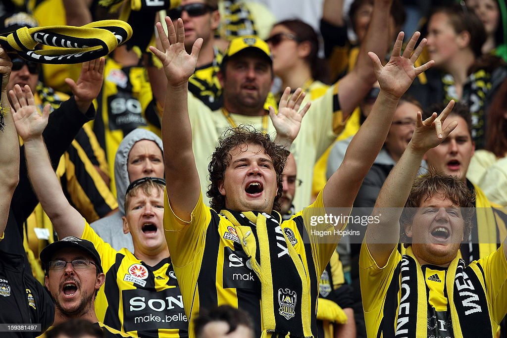 Phoenix fans show their support during the round 16 A-League match between the Wellington Phoenix and the Western Sydney Wanderers at Westpac Stadium on January 13, 2013 in Wellington, New Zealand.