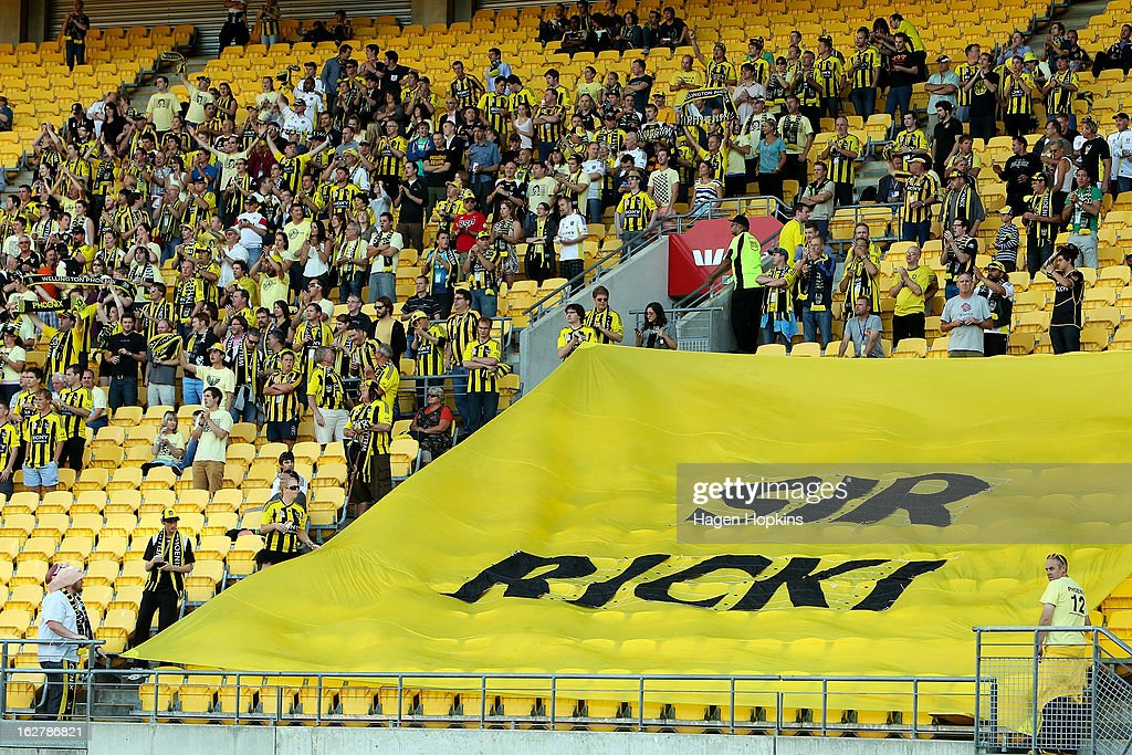 Phoenix fans show their support for former Phoenix coach Ricki Herbert during the round 26 A-League match between the Wellington Phoenix and the Newcastle Jets at Westpac Stadium on February 27, 2013 in Wellington, New Zealand.